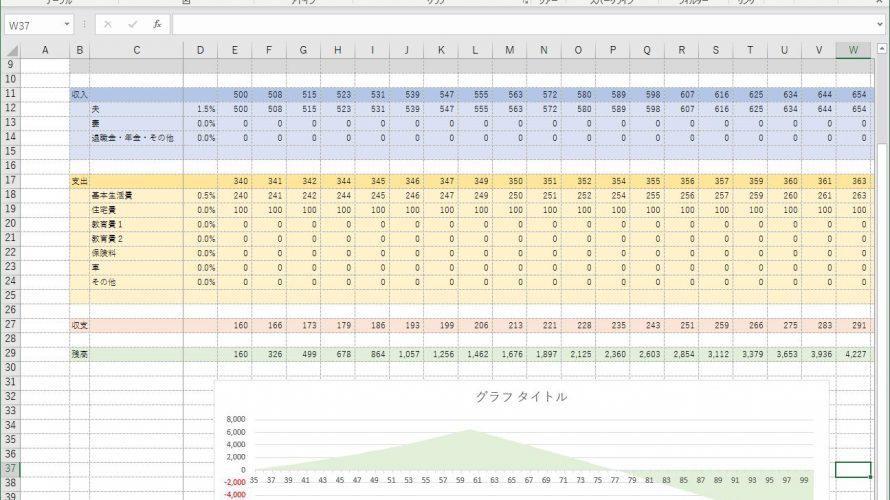エクセルで簡単なライフプラン表をイチからつくってみよう!(その1)